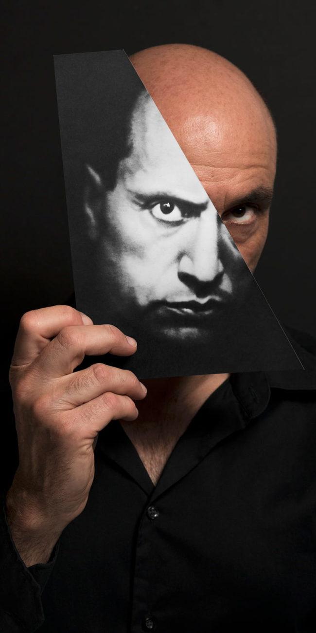 portrait decoupage benito mussolini dictateur italie