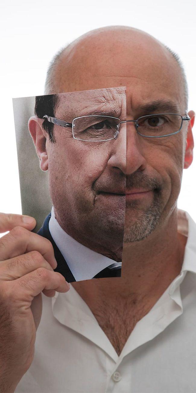 Archive portraits autoportrait decoupage rieu francois hollande president francais